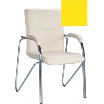Кресло SAMBA (S) (BOX-2) V-26, Искусственная кожа, желтый, Хром база с мягк наклад