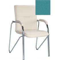 Кресло SAMBA (S) (BOX-2) V-20, Искусственная кожа, зеленый, Хром база с мягк наклад