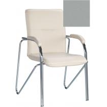 Кресло SAMBA (S) (BOX-2) V-28, Искусственная кожа, серый, Хром база с мягк наклад