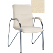 Кресло SAMBA (S) (BOX-2) V-18, Искусственная кожа, бежевый, Хром база с мягк наклад