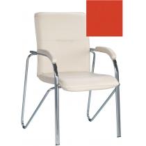 Кресло SAMBA (S) (BOX-2) V-27, Искусственная кожа, красный, Хром база с мягк наклад