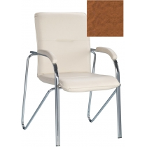 Кресло SAMBA (S) (BOX-2) V-49, Искусственная кожа, коричневый, Хром база с мягк наклад