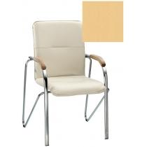 Кресло SAMBA (BOX-2) ECO-01 1.031, Экокожа ECO, бежевый, Хром база с дерев наклад