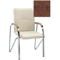 Кресло SAMBA (BOX-2) ECO-21 1.031, Экокожа ECO, коричневый, Хром база с дерев наклад