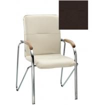 Кресло SAMBA (BOX-2) ECO-31 1.031, Экокожа ECO, коричневый, Хром база с дерев наклад