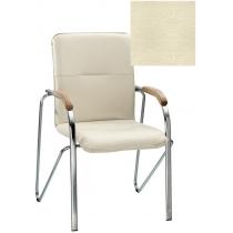 Кресло SAMBA (BOX-2) ECO-07 1.031, Экокожа ECO, бежевый, Хром база с дерев наклад