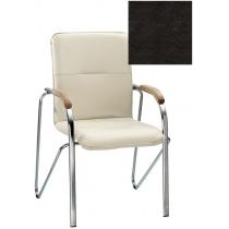 Кресло SAMBA (BOX-2) ECO-30 1.031, Экокожа ECO, черный, Хром база с дерев наклад