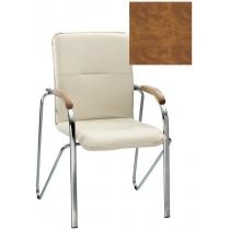 Кресло SAMBA (BOX-2) ECO-13 1.031, Экокожа ECO, коричневый, Хром база с дерев наклад