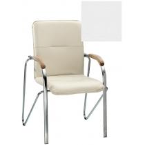 Кресло SAMBA (BOX-2) V-1 1.031, Искусственная кожа, белый, Хром база с дерев наклад