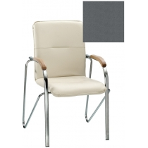 Кресло SAMBA (BOX-2) V-2 1.031, Искусственная кожа, серый, Хром база с дерев наклад
