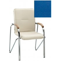 Кресло SAMBA (BOX-2) V-15 1.031, Искусственная кожа, синий, Хром база с дерев наклад