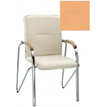 Кресло SAMBA (BOX-2) V-17 1.031, Искусственная кожа, бежевый, Хром база с дерев наклад