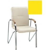 Кресло SAMBA (BOX-2) V-26 1.031, Искусственная кожа, желтый, Хром база с дерев наклад