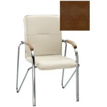 Кресло SAMBA (BOX-2) V-19 1.031, Искусственная кожа, коричневый, Хром база с дерев наклад