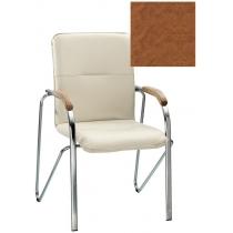 Кресло SAMBA (BOX-2) V-49 1.031, Искусственная кожа, коричневый, Хром база с дерев наклад