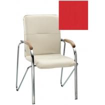 Кресло SAMBA (BOX-2) ECO-90 1.031, Экокожа ECO, красный, Хром база с дерев наклад