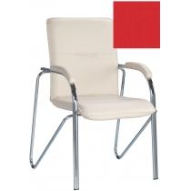 Кресло SAMBA (S) (BOX-2) ECO-90, Экокожа ECO, красный, Хром база с мягк наклад