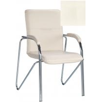 Кресло SAMBA (S) (BOX-2) ECO-50, Экокожа ECO, белый, Хром база с мягк наклад