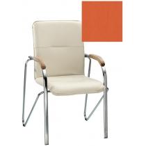 Кресло SAMBA (BOX-2) ECO-72 1.031, Экокожа ECO, оранжевый, Хром база с дерев наклад