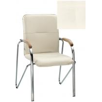 Кресло SAMBA (BOX-2) ECO-50 1.031, Экокожа ECO, белый, Хром база с дерев наклад