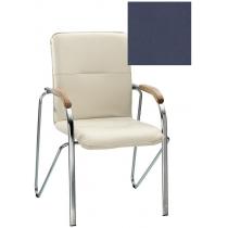 Кресло SAMBA (BOX-2) ECO-22 1.031, Экокожа ECO, синий, Хром база с дерев наклад