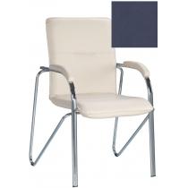 Кресло SAMBA (S) (BOX-2) ECO-22, Экокожа ECO, синий, Хром база с мягк наклад