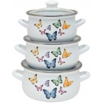 Кастрюля INFINITY ED-1435 / набор Кастр. / cкл.кр / 1.8,2.4,3.3 л / Butterflies