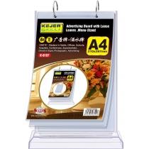 Подставка настольная для рекламы/меню KEJEA формат А4, вертикальная, на кольцах