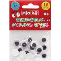 Подвижные глазки для декорирования на клейкой основе, диаметр 12 мм, 16 шт.
