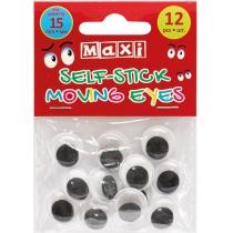 Подвижные глазки для декорирования на клейкой основе, диаметр 15 мм, 12 шт.