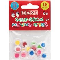 Подвижные глазки для декорирования на клейкой основе цветные, диаметр 12 мм, 16 шт.