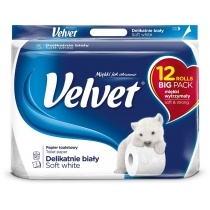 Туалетний папір 3 шари Velvet Делікатний 12 рулонів 153 відривів білий