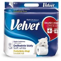 Туалетний папір 3 шари Velvet Делікатний 4 рулони 300 відривів білий