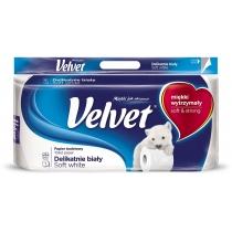Туалетний папір 3 шари Velvet Делікатний 8 рулонів 153 відривів білий