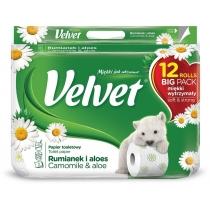 Туалетний папір 3 шари Velvet Делікатний з ароматом Ромашки 12 рулонів 153 відрива білий