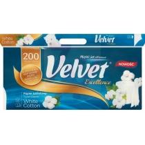 Туалетний папір 3 шари Velvet Екселент 8 рулонів 200 відривів бавовна білий