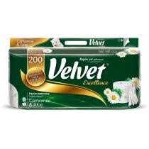 Туалетний папір 3 шари Velvet Екселент Ромашка і алоє 8 рулонів 200 відривів