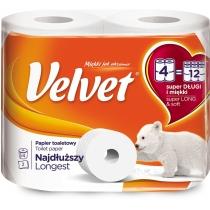 Туалетний папір 2 шари Velvet Екстра Лонг 4 рулонів 486 відривів потрійна намотка