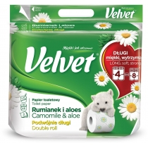 Туалетний папір 3 шари Velvet Ромашка і алоє 4 рулонів 300 відривів подвійний рулон