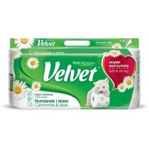 Туалетний папір 3 шари Velvet Ромашка і алоє 8 рулонів 150 відривів