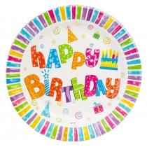 Набор тарелок бумажных Happy Birthday, диаметр 17,78 см