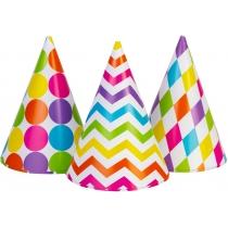 Набір з 6 ковпаків на голову із гумовою стрічкою, висота 15,24 см, кольорові асорті