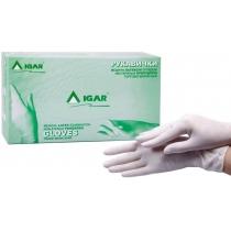 Рукавички медичні латексні оглядові ІГАР нестерильні опудрені роз. L (пач - 50 пар) білі