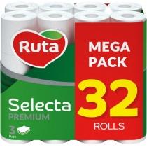 Туалетная бумага 3 слоя RUTA Selecta 32 рулона белая