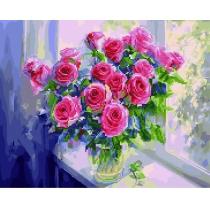 """Алмазная мозаика """"Розовые розы в вазе"""", 40*50 см"""