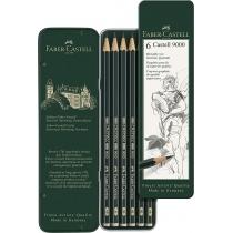 Олівці чорнографітні набір 6шт CASTELL 9000 у металевій коробці