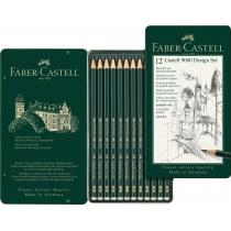 Набір чернографитных олівців Faber-Castell CASTELL® 9000 в металевій коробці 12 шт