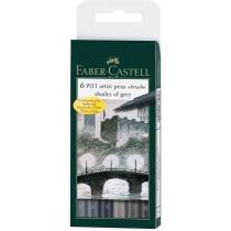 """Набір ручок-пензликів капілярних Faber-Castell PITT Artist Pens """"Brush"""" Shades of grey 6 шт"""