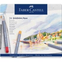 Олівці акварельні Faber-Castell Goldfaber Aqua 24 кольору в металевій коробці