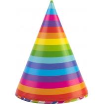 Набір Confetti Rainbow з 6 ковпаків на голову із гумовою стрічкою, дизайни асорті